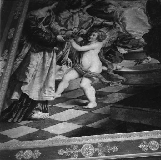 Tableau : Le Mariage mystique de sainte Catherine, détail de l'ange qui tend une corbeille de fruits à une femme, en bas à gauche de la composition, huile sur toile ; après restauration (détail)
