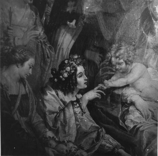 Tableau : Le Mariage mystique de sainte Catherine, détail de l'Enfant passant l'anneau au doigt de sainte Catherine, huile sur toile ; après restauration (détail)
