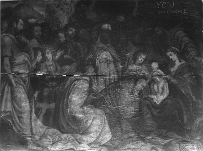 Tableau : L' Adoration des Mages, détail de la partie centrale de la composition et de la désolidarisation des panneaux de bois, huile sur bois ; après restauration (détail)