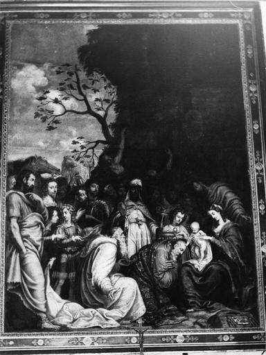 Tableau : L' Adoration des Mages, huile sur bois ; après restauration