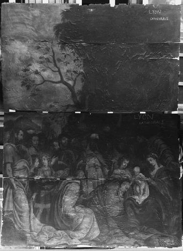 Tableau : L' Adoration des Mages, huile sur bois ; avant restauration