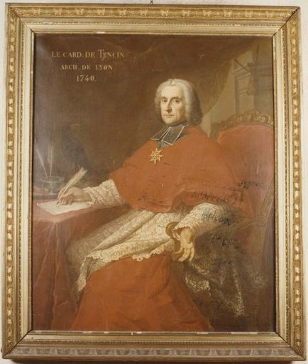 Tableau : Portrait du cardinal Guérin de Tencin, huile sur toile, cadre en bois doré à frise de palmettes et de fleurs de papyrus