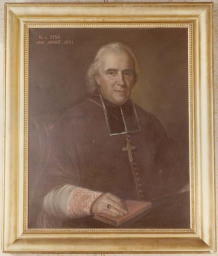 Tableau : Portrait de Monseigneur de Pins, huile sur toile, cadre en bois doré mouluré à décor de frise de feuilles d'eau