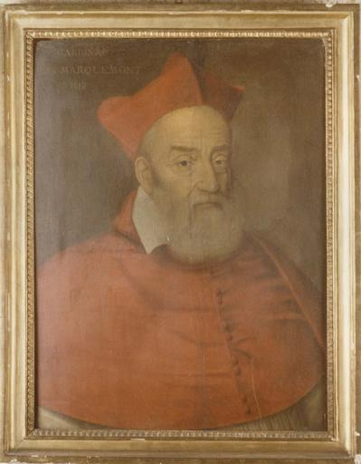Tableau : Portrait du cardinal de Marquemont, huile sur toile, cadre en bois doré, mouluré, à frise de feuilles d'eau