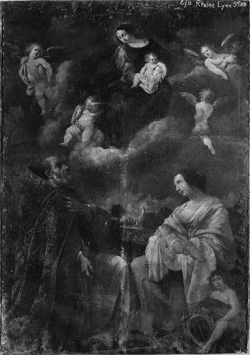 Tableau : La Vierge, un saint et la Charité