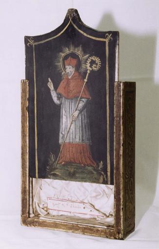 Reliquaire d'un gant de saint Charles Borromée, ouverture coulissante peinte d'un portrait de saint Charles Borromée, bois taillé, peint (avers)