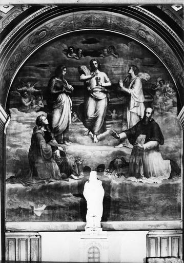 Tableau : Le Christ entre la Vierge, saint Jean, Marie-Madeleine et un saint , huile sur toile