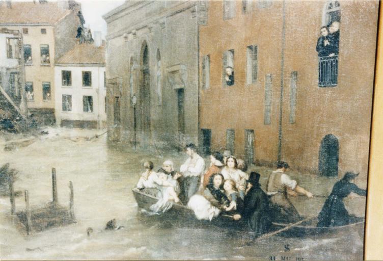 Ex-voto : L'Inondation du quartier de la Guillotière, détail d'une embarcation évacuant des familles, huile sur toile (détail)