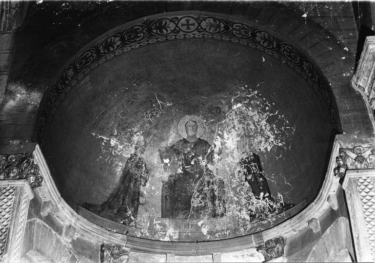 Peinture monumentale : Saint Benoît donnant sa règle aux religieux d'Ainay, huile sur enduit
