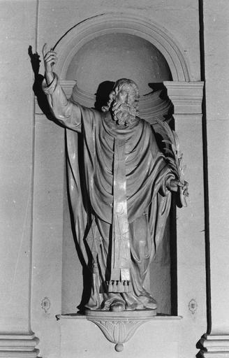 Statue : Saint Polycarpe, bois sculpté, peint en blanc