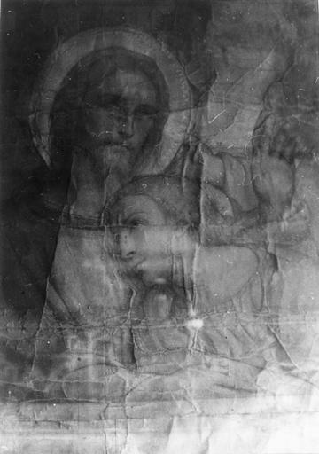 Dessin : Le Christ et saint Jean, carton préparatoire à la peinture monumentale représentant la Cène, détail de la partie centrale de la composition