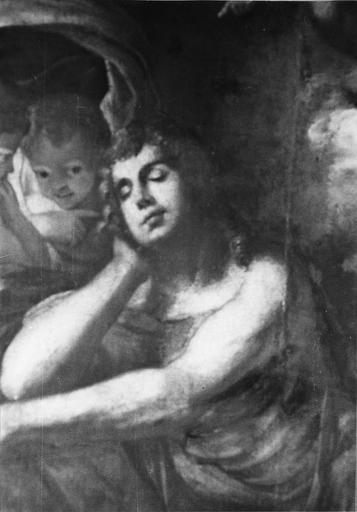 Plafond : classé sous le titre L' Amour et Psyché, il s'agirait plutôt de Diane et Endymion, détail du visage du jeune homme endormi, huile sur toile (détail)