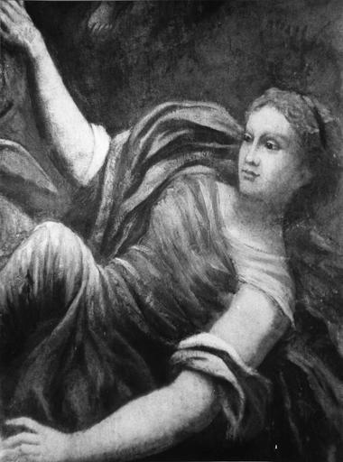Plafond : classé sous le titre L' Amour et Psyché, il s'agirait plutôt de Diane et Endymion, détail du visage de la jeune femme dont on distingue le diadème au croissant, huile sur toile (détail)