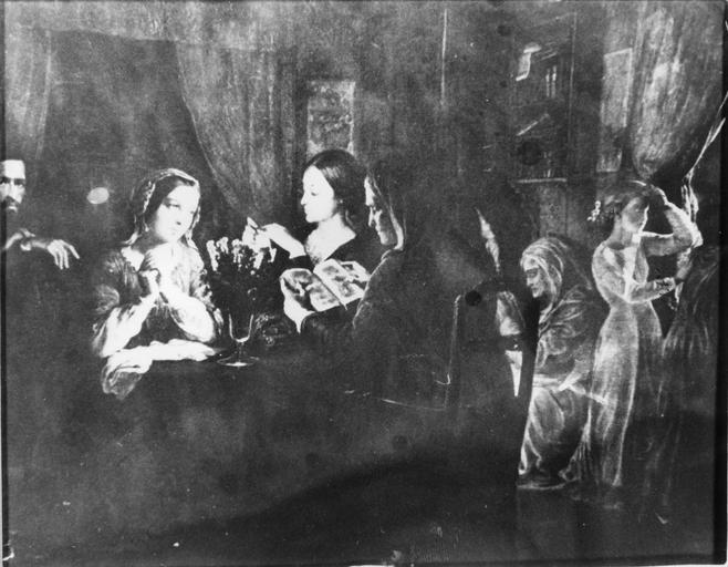 Tableau : Le Toit paternel, issu de la 1ère série du Poème de l'Ame, huile sur toile