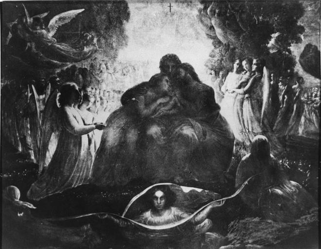 Tableau : Génération divine, issu de la 1ère série du Poème de l'Ame, huile sur toile