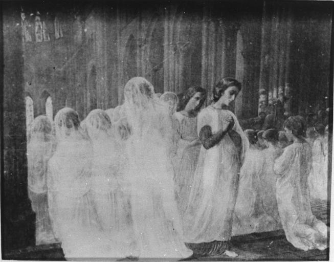 Tableau : Première communion, issu de la 1ère série du Poème de l'Ame, huile sur toile
