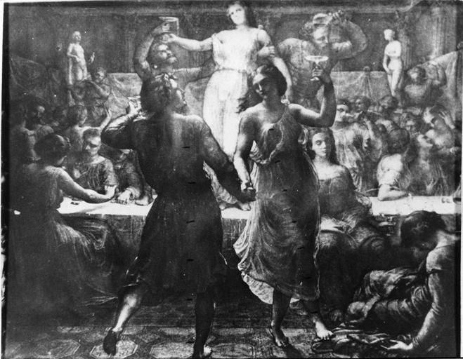 Dessin : Orgie, issu de la 2e série du Poème de l'Ame