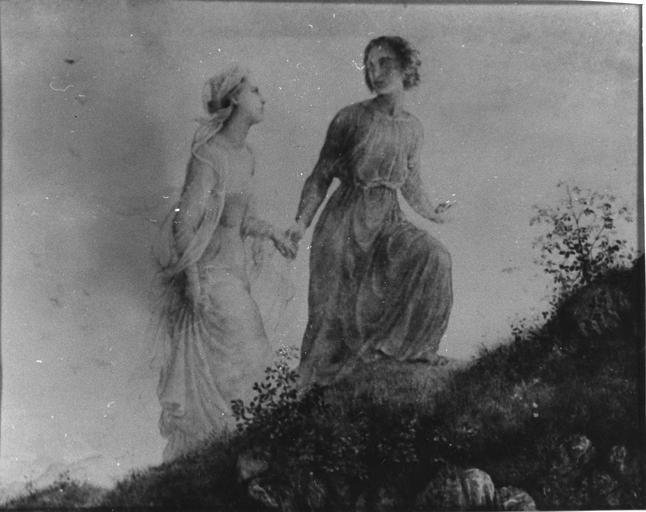 Tableau : Sur la montagne, issu de la 1ère série du Poème de l'Ame, huile sur toile