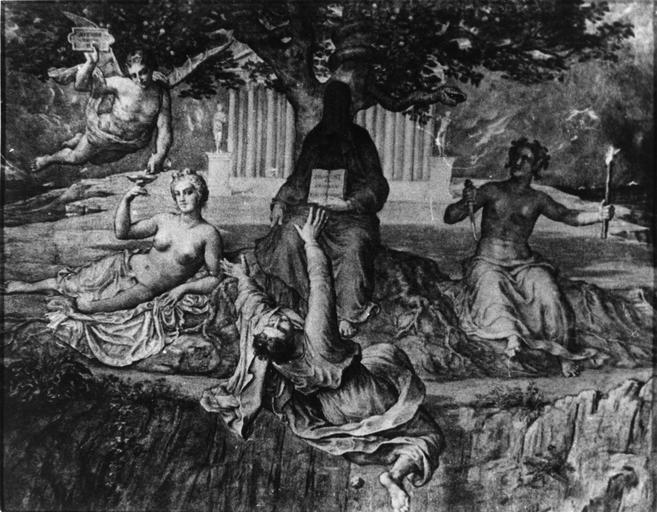 Dessin : Chute fatale, issu de la 2e série du Poème de l'Ame