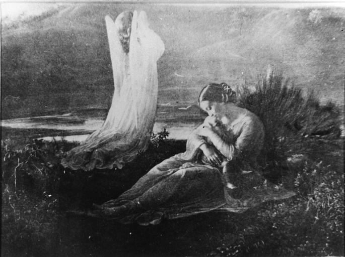 Tableau : L'Ange et la mère, issu de la 1ère série du Poème de l'Ame, huile sur toile