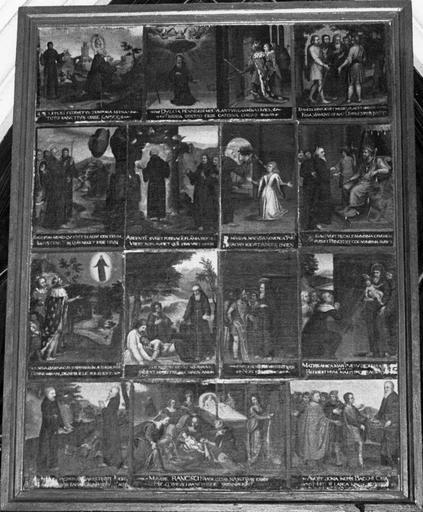 Tableau : Episodes de la vie de saint François de Paule, huile sur toile marouflée sur bois