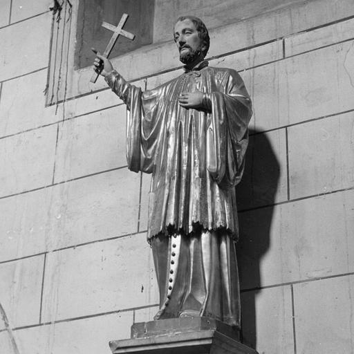 Statue : Saint François Régis prêchant, bois sculpté, peint, doré
