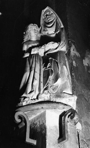 Groupe sculpté : L' Education de la Vierge, marbre sculpté