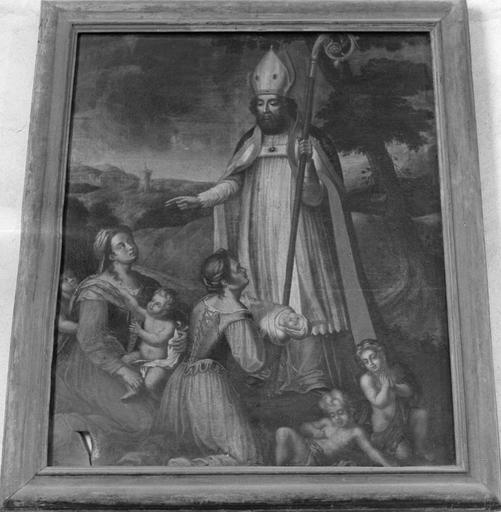 Tableau : Saint Nicolas bénissant deux femmes et leurs enfants, huile sur toile