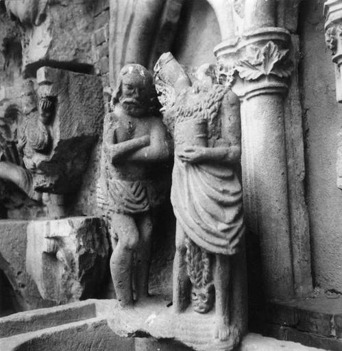 Bas-relief : Le Baptême du Christ, provenant de l'abbaye de Savigny, pierre sculptée