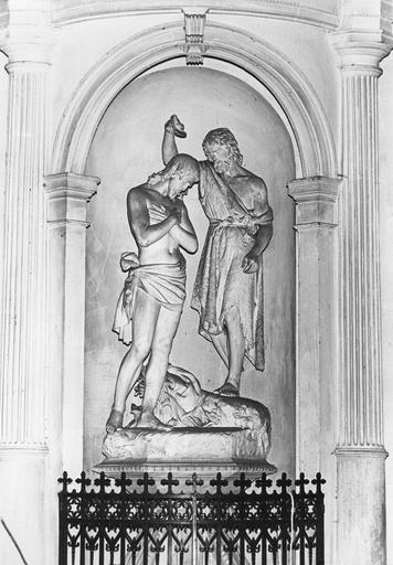 Groupe sculpté : Le Baptême du Christ, plâtre
