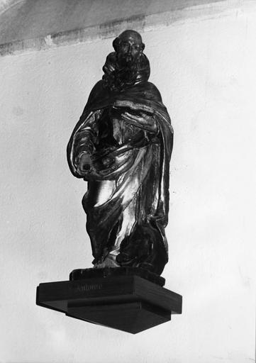 Groupe sculpté : Saint Antoine, bois sculpté, peint, doré
