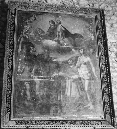 Tableau : La Vierge à l'Enfant avec saint Roch, saint Antoine, saint Charles Borromée, saint Sébastien et un saint non identifié sur le côté droit (saint François d'Assise?), huile sur toile