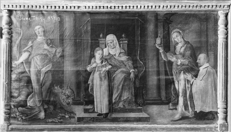 Tableau : L'Education de la Vierge avec Sainte Marthe, sainte Madeleine et un orant, huile sur toile marouflée sur panneau de bois au cadre imitant une corniche soutenue par deux colonnettes à chapiteaux de forme balustre