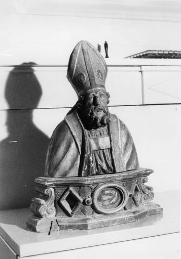 Buste-reliquaire : Saint Martin, bois sculpté, peint, doré