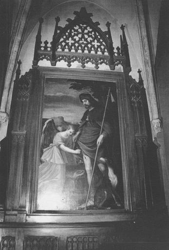 Autel, retable, tableau : Saint Roch soigné par l'ange, cadre