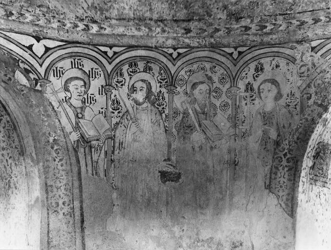 Peinture monumentale : détail des saints placés sous des arcades dans la partie supérieure du mur d'abside, représentant saint Philippe, saint Barthélemy, saint Matthias, saint Simon ; après restauration