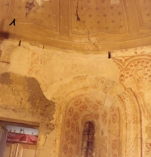 Peinture monumentale : détail de la voûte d'abside ; avant restauration