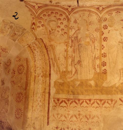 Peinture monumentale : détail des saints placés sous des arcades dans la partie supérieure du mur d'abside, représentant saint Jacques le Majeur, saint Jean, saint Jude Thaddée et saint Thomas ; avant restauration