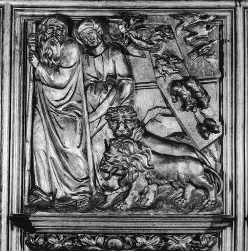 Lambris de revêtement, bas-relief : L'Arche de Noé, bois sculpté (détail)