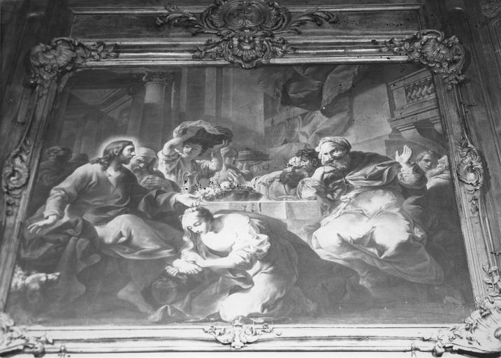 Tableau : Le repas chez Simon, huile sur toile, cadre en bois sculpté de coquilles et motifs végétaux, doré