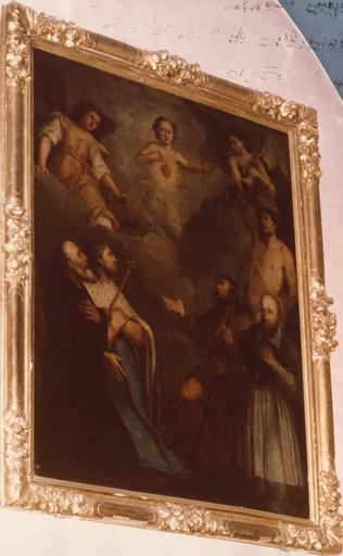 Tableau : Le Sacré-Coeur de l'Enfant Jésus, avec Saint Louis, saint Sébastien, saint Roch, saint François de Sales et saint François de Paule, huile sur toile