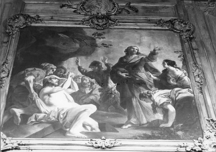 Tableau : La Résurrection de Lazare, huile sur toile, cadre en bois sculpté de coquilles, doré
