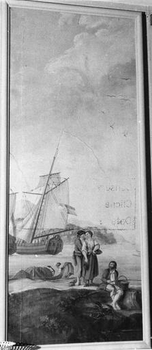 Tableau : Paysage de bord de mer avec un pêcheur assis au bord d'un rocher et un couple en train de badiner, huile sur toile