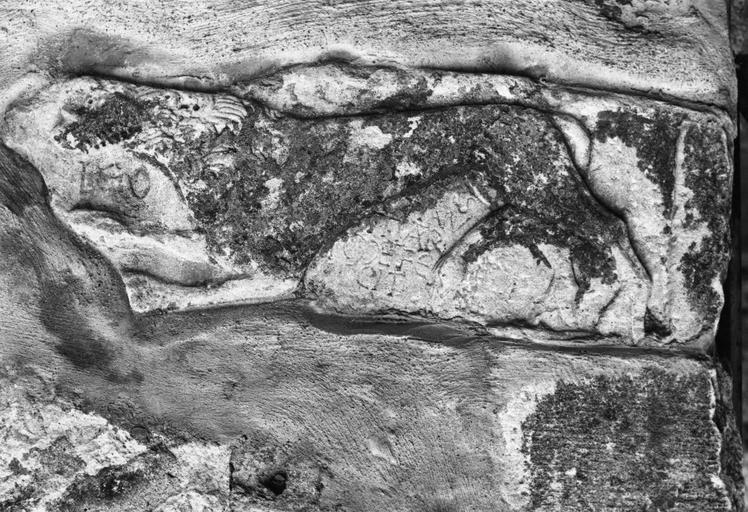 Sculpture : pierre de parement du mur de l'église, sculptée en relief écrasé d'un lion et d'inscriptions