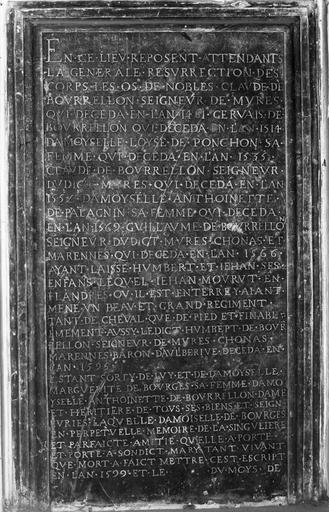 Plaque funéraire provenant des fragments du tombeau de la famille de Bourellon, marbre gravé