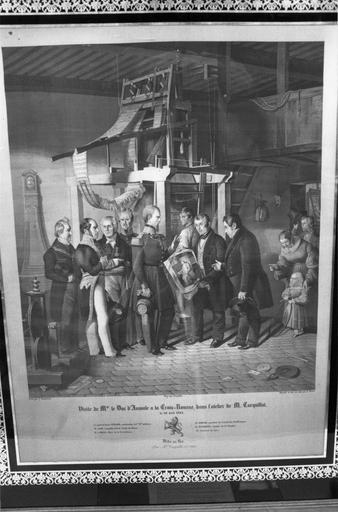 Tableau de tapisserie : La Visite de Monseigneur le Duc d'Aumale à la Croix-Rousse dans l'atelier de M. Carquillat, panneau de soie tissée