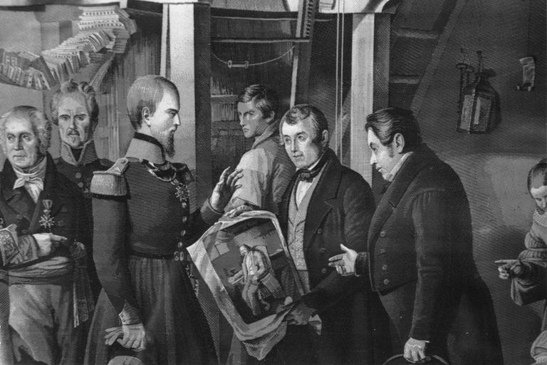 Tableau de tapisserie : La Visite de Monseigneur le Duc d'Aumale à la Croix-Rousse dans l'atelier de M. Carquillat, panneau de soie tissée (détail)