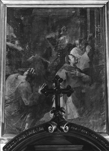 Tableau : La messe de saint Charles Borromée, huile sur toile