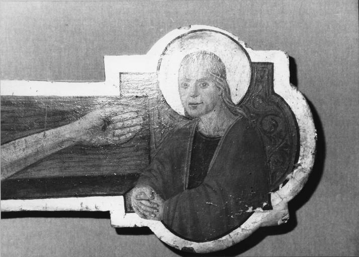 Tableau : Christ en croix, détail de saint Jean, placé à l'extrémité droite de la croix (détail)