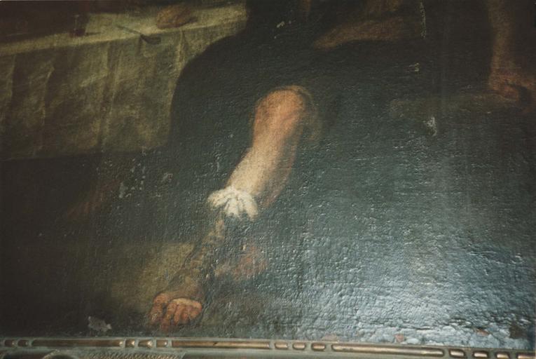 Tableau : La Cène, détail de la jambe d'un des apôtres, huile sur toile